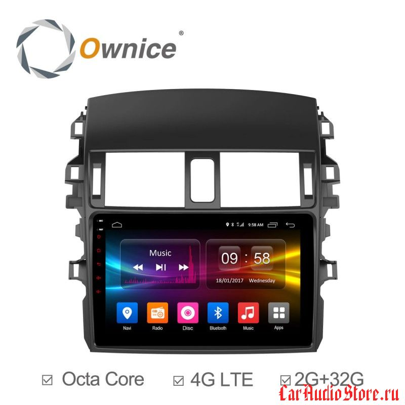 Ownice C500+ S9605P для Toyota Corolla E150 (Android 6.0)